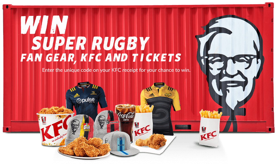 Win Super Rugby Fan Gear, KFC and Tickets - Enter the unique code on your KFC receipt for your chance to win.